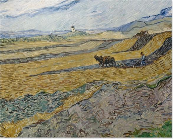 Poster Vincent van Gogh - Acker mit pflügendem Bauern und Mühle - Reproductions