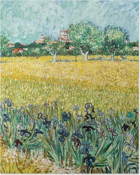 Poster Vincent van Gogh - Blick auf Arles mit Iris im Vordergrund - Reproductions