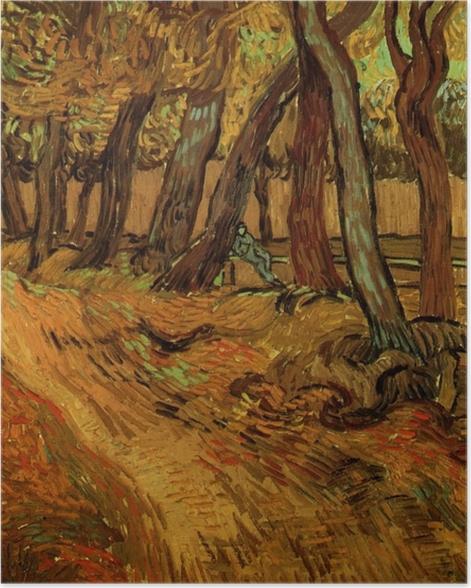 Poster Vincent van Gogh - Der Garten der Heilanstalt Saint-Paul mit Figur - Reproductions