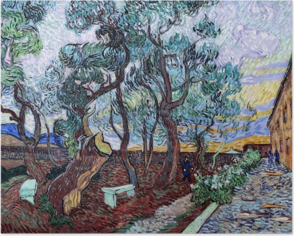 Poster Vincent van Gogh - Der Irrenhausgarten in Saint-Rémy - Reproductions