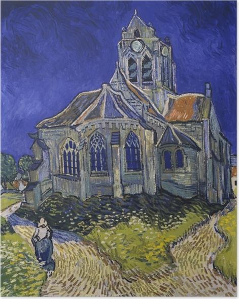 Poster Vincent van Gogh - Die Kirche von Auvers - Reproductions