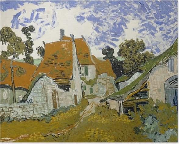 Poster Vincent van Gogh - Dorfstraße in Auvers - Reproductions