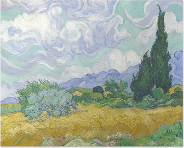 Poster Vincent van Gogh - Grünes Weizenfeld mit Zypresse - Reproductions
