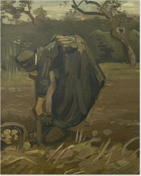 Poster Vincent van Gogh - Kartoffelgrabende Bäuerin - Reproductions