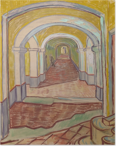 Poster Vincent van Gogh - Korridor im Asyl - Reproductions