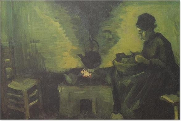 Poster Vincent van Gogh - Ländliche Frau durch den Herd - Reproductions