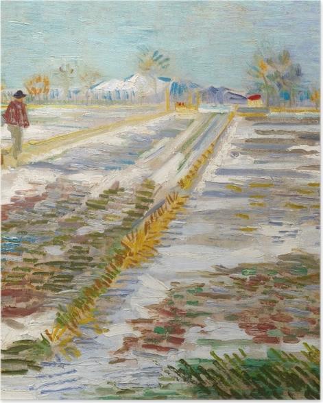 Poster Vincent van Gogh - Landschaft mit Schnee - Reproductions
