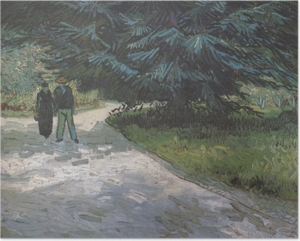 Poster Vincent van Gogh - Paar im Park mit blauen Tannen - Reproductions