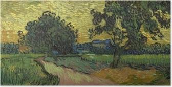 Poster Vincent van Gogh - Paesaggio con il Castello di Auvers al tramonto