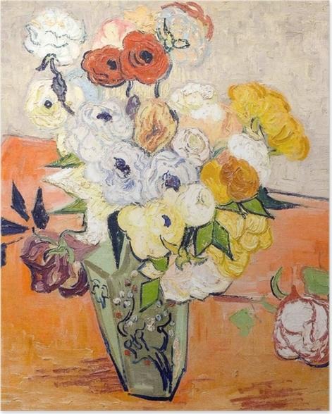 Poster Vincent van Gogh - Rosen und Anemonen - Reproductions