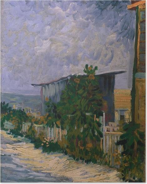 Poster Vincent van Gogh - Schuppen am Montmartre mit Sonnonblume - Reproductions