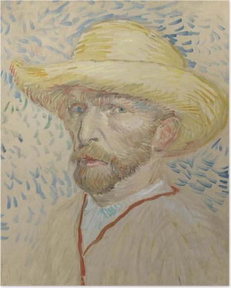 Poster Vincent van Gogh - Selbstbildnis mit Strohhut und Malerkittel - Reproductions