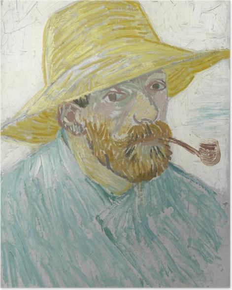 Poster Vincent van Gogh - Selbstbildnis mit Strohhut und Pfeife - Reproductions