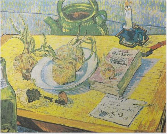 Poster Vincent van Gogh - Stillleben mit Zeichenbrett, Pfeife, Zwiebeln und Siegellack - Reproductions