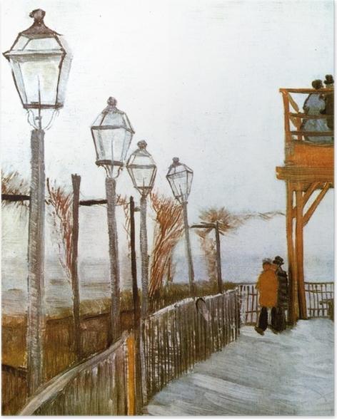 Poster Vincent van Gogh - Terrasse und Aussichtsplattform der Mühle Le blute-fin, Montmartre - Reproductions