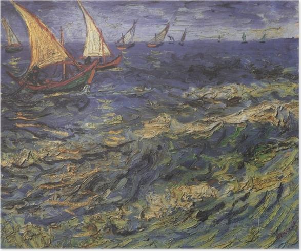 Poster Vincent van Gogh - Vista sul mare con una barca a vela - Reproductions
