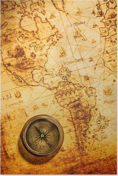 Poster Vintage Bussola Si Trova Su Una Mappa Antica Del Mondo.