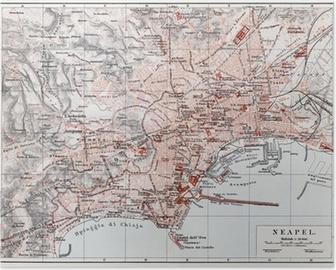 Poster Vintage mappa di Napoli (Napoli) alla fine del 19 ° secolo