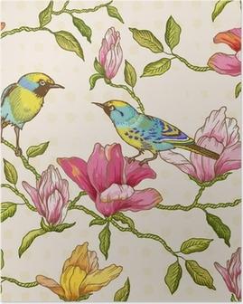 Poster Vintage nahtlose Hintergrund - Blumen und Vögel
