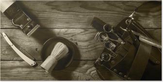 Poster Vintage Satz von Barbershop.Toning Sepia