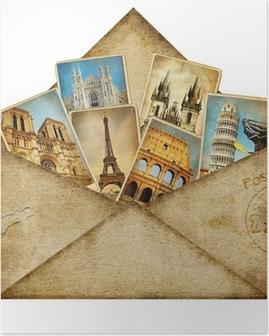Poster Vintage Umschlag mit Fahrkarten