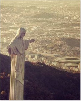 Poster Vista aerea del Cristo statua guardando Stadio Maracanã