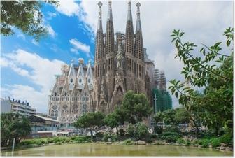 Poster Vista della Sagrada Familia di Barcellona. Spagna