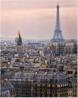 Poster Vista di Parigi e della Torre Eiffel da Above
