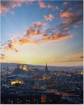 Poster Vista di tramonto di Edinburgh, UK