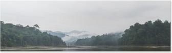Poster Vista panoramica di nebbia mattutina e alberi morti nella fitta foresta pluviale tropicale, Perak, Malaysia