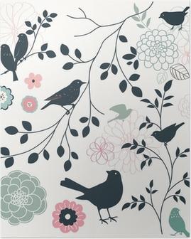 Poster Vogel und Blume