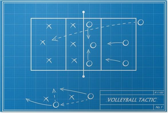 Poster Volleyball Taktik auf Blaupause • Pixers® - Wir leben, um zu ...