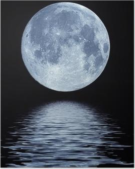 Poster Vollmond über Wasser