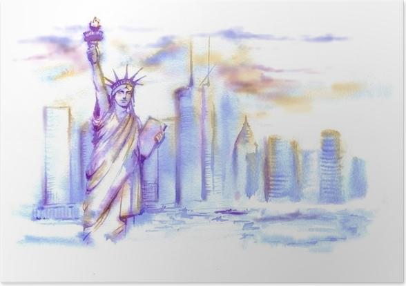 Poster Von Hand gezeichnete Aquarellzeichnung der amerikanischen ...