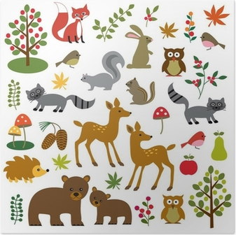 Poster Wald Wildtiere Cliparts
