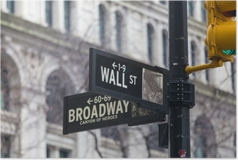 Poster Wall Street. Straßenschild, New York, USA.