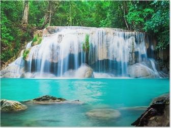 Poster Wasserfall im Dschungel in der Provinz Kanchanaburi, Thailand
