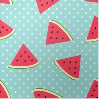 Poster Watermelon nahtlose Muster mit Tupfen