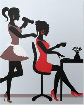 Poster Weibliche Silhouette im Friseursalon.
