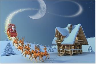 Poster Weihnachten Nacht Szene - Santa Claus reitet Rentierschlitten