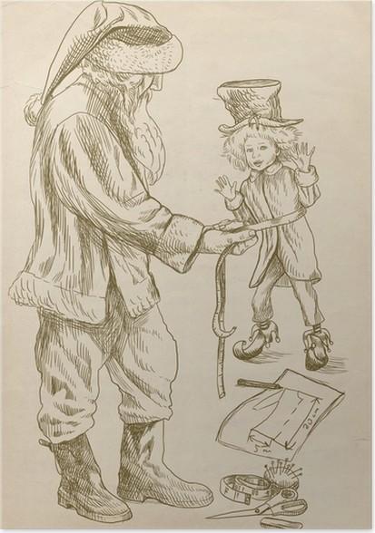 Poster Weihnachtsmann, wie der Schneider näht Kleidung für seine elf ...