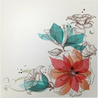 Poster Weinlese-Blumen Hintergrund
