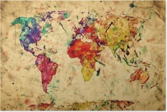 Poster Weinlese-Weltkarte. Bunte Farben, Aquarell auf Papier Grunge