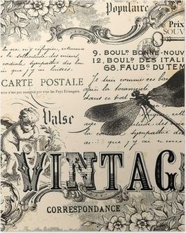 Poster Weinlesecollage Hintergrund