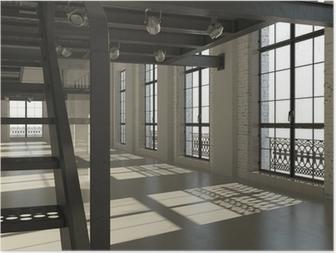 Leinwandbild weiß minimalistischen loft interieur 3d render