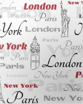Poster Weiß nahtlose Muster mit Symbolen der Städte