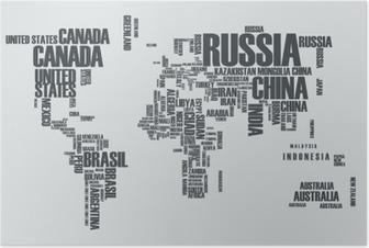 Poster Weltkarte: die Konturen des Landes besteht aus den Worten