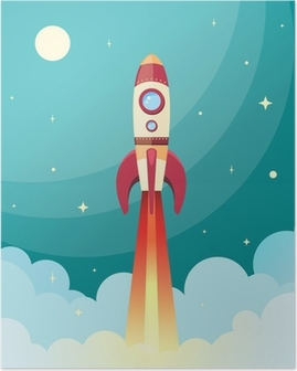 Poster Weltraumrakete Druck