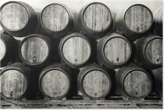 Poster Whisky oder Weinfässer in schwarz und weiß