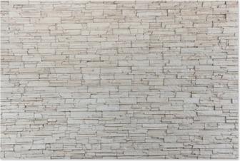 Poster White Stone Tile Texture Brick Wall